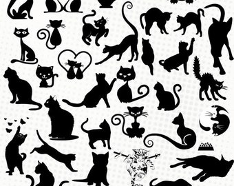 Cats & kittens - 40 images - svg/dxf/eps/silhouette studio/png files - Silhouettes, cutting files, clipart, vector files - Cats kittens cat