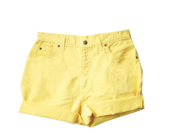 Pastel Yellow High Waisted Shorts