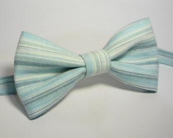 Light Green horizontal striped Linen Bow Tie, Wedding, Groomsmen, Mens Green Linen Bowtie, Pale Green, Pastel Green, Adjustable Bowtie