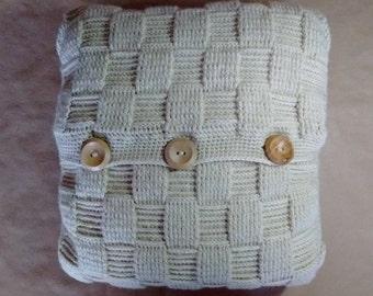 OYSTER CUSHION - free UK shipping - woven basketweave cushion
