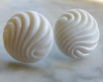 White Wavy Post Earrings
