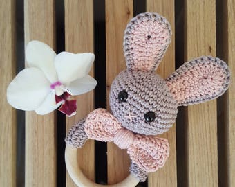 baby rattle with a bunny and a big bow, crochet babypresent