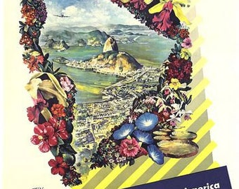 Vintage KLM Flights To South America Airline Poster A3 Print