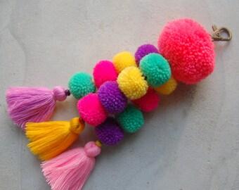 Pink Pom Pom Tassel Beach Bag Accessory