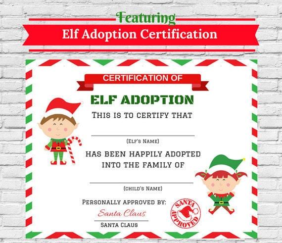 Elf adoption certificate elf printables elf by cuteartclip for Elf adoption certificate