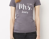 Mrs. Shirt with Wedding Date and Name, Mrs. Shirt, Customized Mrs. Shirt, Mrs. T-Shirt, Wedding Gift, Bridal Gift, Spousal Gift, Wedding