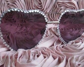 Embellished Sunglasses (Diamond Heart Frames)