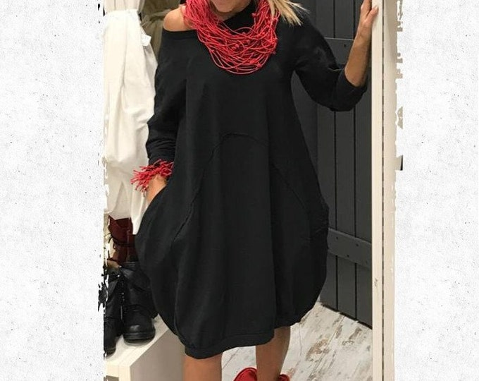 Loose Black Extravagant Dress / Party Dress / Extravagant Maxi Tulip Dress