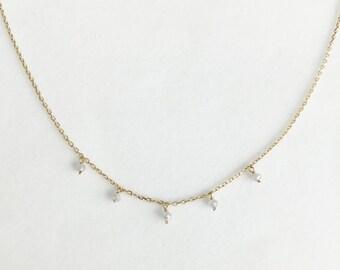 14K Gold Necklace, Gray Diamond, Twinkling Necklace