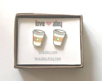 coffee earrings cute coffee stud earrings coffee lover cute earrings caffeine lover