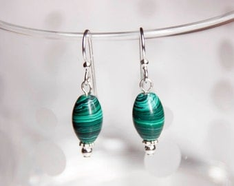 Malachite and Sterling Silver Beaded Drop Earrings