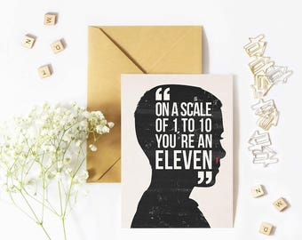 Eleven card. Stranger Things. Birthday card. Coolgeek card. Pop culture. Scifi illustration. Netflix art. 11 design. Upside down