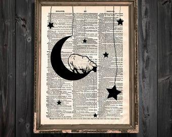 Sheep Dictionary Art Print - Counting Sheep Art Moon and Stars Print - Night Sky Nursery Art Print Sheep over moon nursery dictionary print