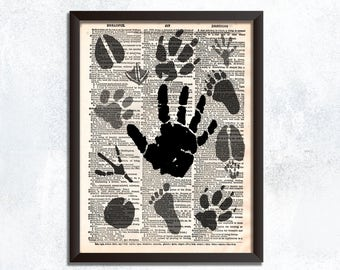 Animal Foot Print Dictionary Art - Animal Foot Artwork Nature Decor - Animal Nature Decorations Animal Lover Gift - Nature Wall Art Print