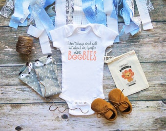 Dos Boobies Funny Baby Onesie® Cute Baby Boy & Girl Clothes - Funny Breast Feeding Onesies - Drinking Milk - Baby Shower Gifts - M125