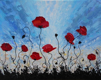 Original Floral Abstract Painting, Poppies Painting, Red Flower Art,  Modern Art Abstract Flowers Contemporary Palette Knife Wall Art Canvas