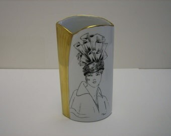 Elegant Lady Vase, hand painted, ideal Mother's Day Gift.