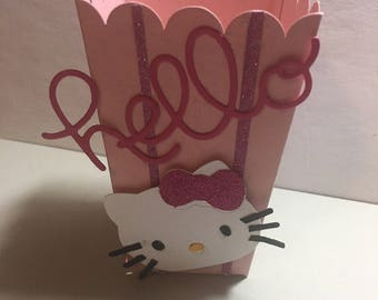 Hello Kitty favor box, birthday favors , popcorn box 10ct