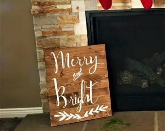 Merry & Bright l handmade pallet sign, rustic pallet sign, Christmas sign, Christmas decor, Christmas pallet sign