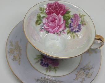 Vintage Royal LM Halsey Very Fine China English Rose Demitasse Cup And Saucer