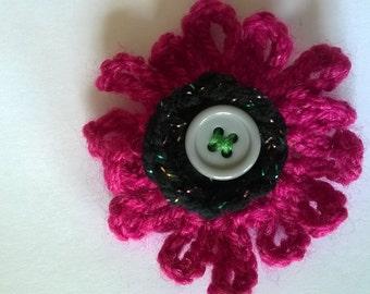 Pink & Black Crochet Brooch - Crochet Pin - Crochet Flower Brooch - Flower Brooch - Crochet Brooch - Pink Brooch - Yarn Brooch - Flower Pin