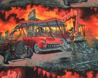 Novelty Cotton Pillowcase Set Zombie Drive-In