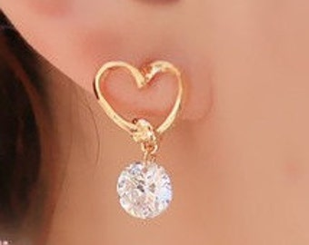 Golden Heart & Crystal Drop Earrings EA6081i