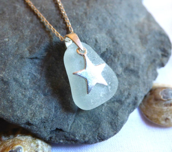 Pagan Seaglass Pendant - Seafoam Sea Glass Pendant Necklace with Sterling Silver Star Charm - hippie witch emo goth - PE16011