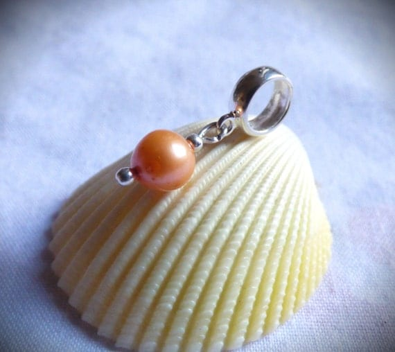 Orange Pearl, Charm Bead, Bracelet Addition, Sterling Silver, Freshwater Pearls, Collectable Jewelry, Collectible Jewellery, Pearls -CD17009
