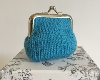 Knitted Coin Purse, Turquoise Kiss Lock Purse, Hand knit Small Money Purse, Silver Metal Frame, Wool Pouch, Birthday Gifts for Mother Sister