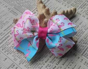 Flamingo Girls Hair Bow, Flamingo Bow Hair Ponytail, Party Favors, stocking stuffers