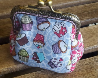 handmade clutch coin purse, wallet with cupcakes theme