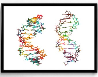 Two DNA, Science, Biology, Colorful Watercolor, Poster, Room Decor, gift, printable wall art (350)
