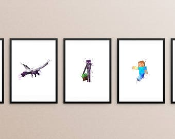 Minecraft bundle, Minecraft characters, Enderman, Ender dragon, steve, spider, creeper