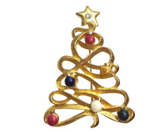 TC Signed Golden Ribbon Christmas Tree Pin, Book Piece