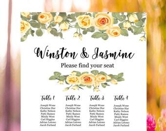 Wedding Seating Chart, wedding seat chart, Wedding Seat poster, wedding decor, cream wedding chart, roses wedding chart, printable file
