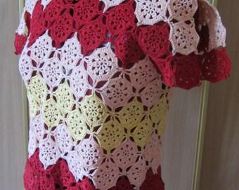 Crochet top, Сolorful crochet top, Crochet blouse, Lace top, Womens clothing, Knit top