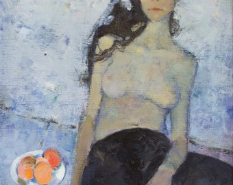 Original Art Oil Painting Nude Woman Figure Portrait. Young Woman In Black Leggings Sitting On Sofa With Peaches Fruits. Oil On Canvas. 2015