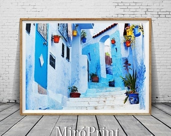 Chefchaouen Morocco Print, Chefchaouen Print, Moroccan Decor, Moroccan Photo, Travel Photo, Chefchaouen Wall Art, Moroccan Art, Photography