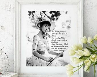 Audrey Hepburn: Instant Printable | Audrey Hepburn Art| Audrey Hepburn Quote | Wall Art | Black and White | Classic Hollywood Wall Art