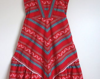 Beautiful Red Vintage 1970s Sun dress wedding guest 12