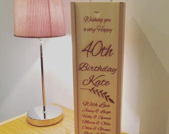 wooden bottle gift box personalised message