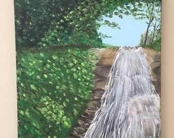 "Cascade - wall décor art - acrylic painting, 16""x20"" canvas stretched/wrapped on 5/8"" bars"