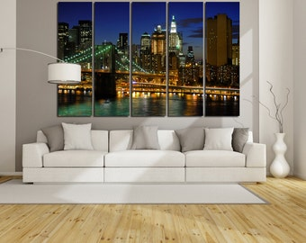 Large Wall New York Cityscape Canvas Brooklyn Bridge Multipanel Canvas NY View Canvas Art Large  1-3-4-5 Panel Night City Print