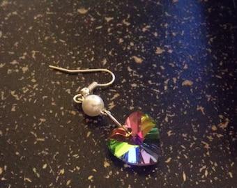 Glass heart diamond earrings