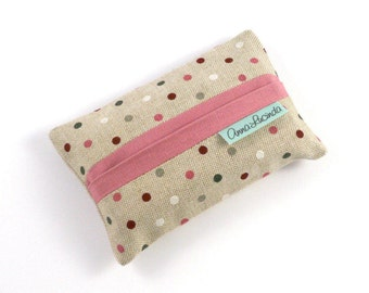 Polka Dot Tissue Holder, Linen Polka Dot Tissue Cover, Tissue Case, Tissue Pouch, Pocket Tissue Cover, Gift for Her