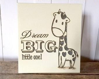 Dream Big Little One, Giraffe, Wooden Signs, Nursery Decor, Wall Decor, Baby Shower Gift
