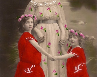 Romantic Fantasy Family Portrait Fancy Fairies Mum & Children Dancing in Magic Lake... Original Rare 1900s Hand Tinted French Photo Postcard