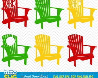 Adirondack Chair SVG files, Silhouette Studio, Cricut, Cameo, Embroidery, Screen Printing TT-23