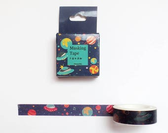 Space Washi Tape Roll, Planets, Solar System Washi Tape, Deco Tape, Masking Tape